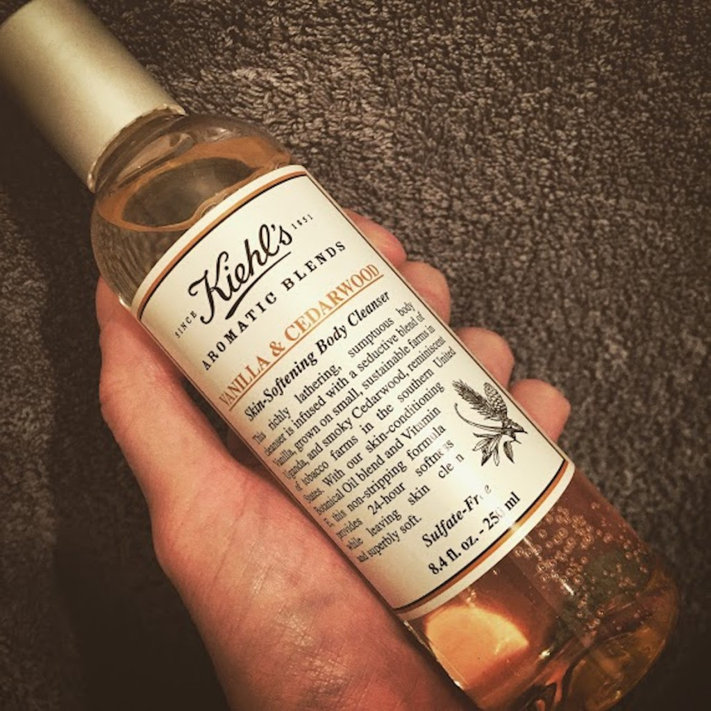 Kiehl's Vanilla & Cedarwood skin-softening body cleanser.