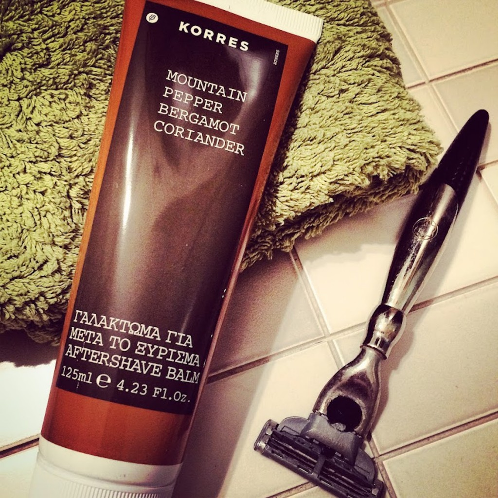 To shave or not? Well, it's worth it due to this Korres Mountain Pepper Bergamot Coriander Aftershave Balm