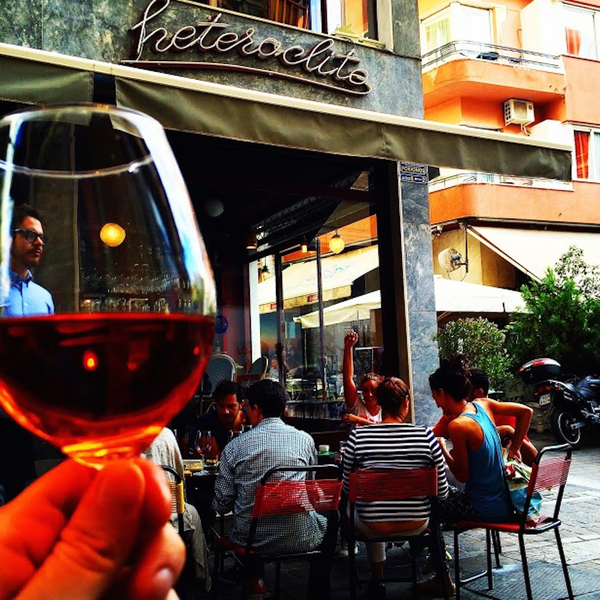 A glass of rose wine at Heteroclito, this sophisticated wine bar near Athens' cathedral.