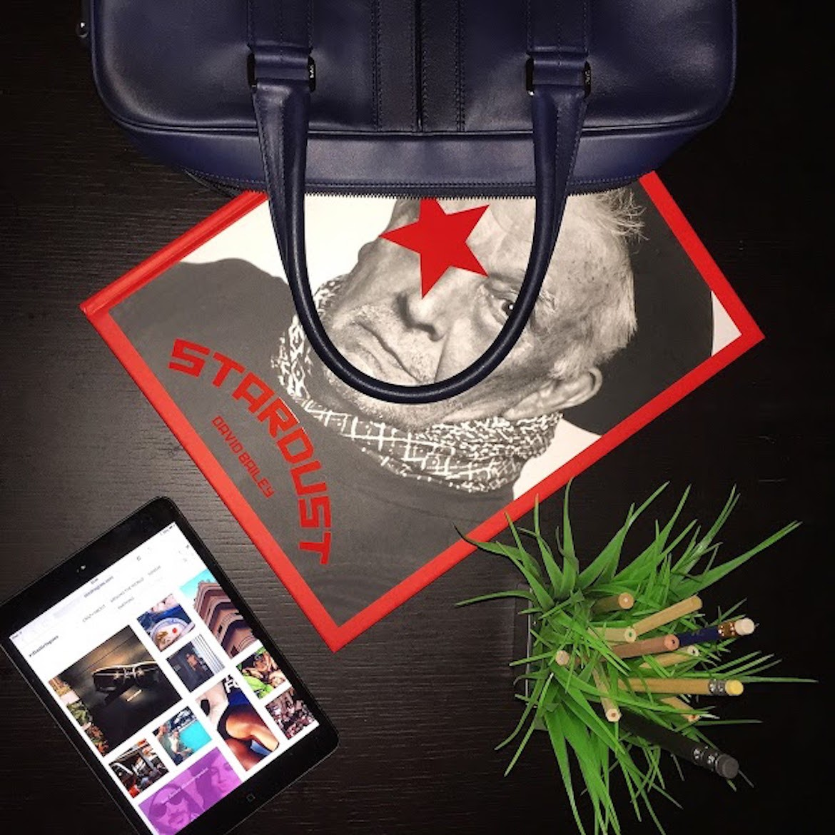 David Bailey's STARDUST coffee-table book by Skira Editions -- leather briefcase by Tod's