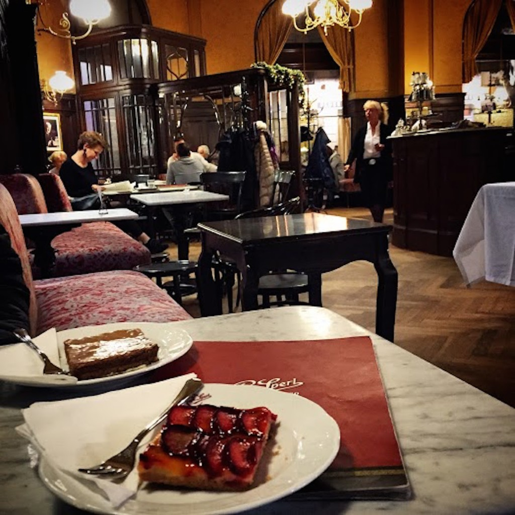 Zwetschkenfleck & Sperlschnitte signature desserts at famous cafe Sperl serving the cafe society since 1880.