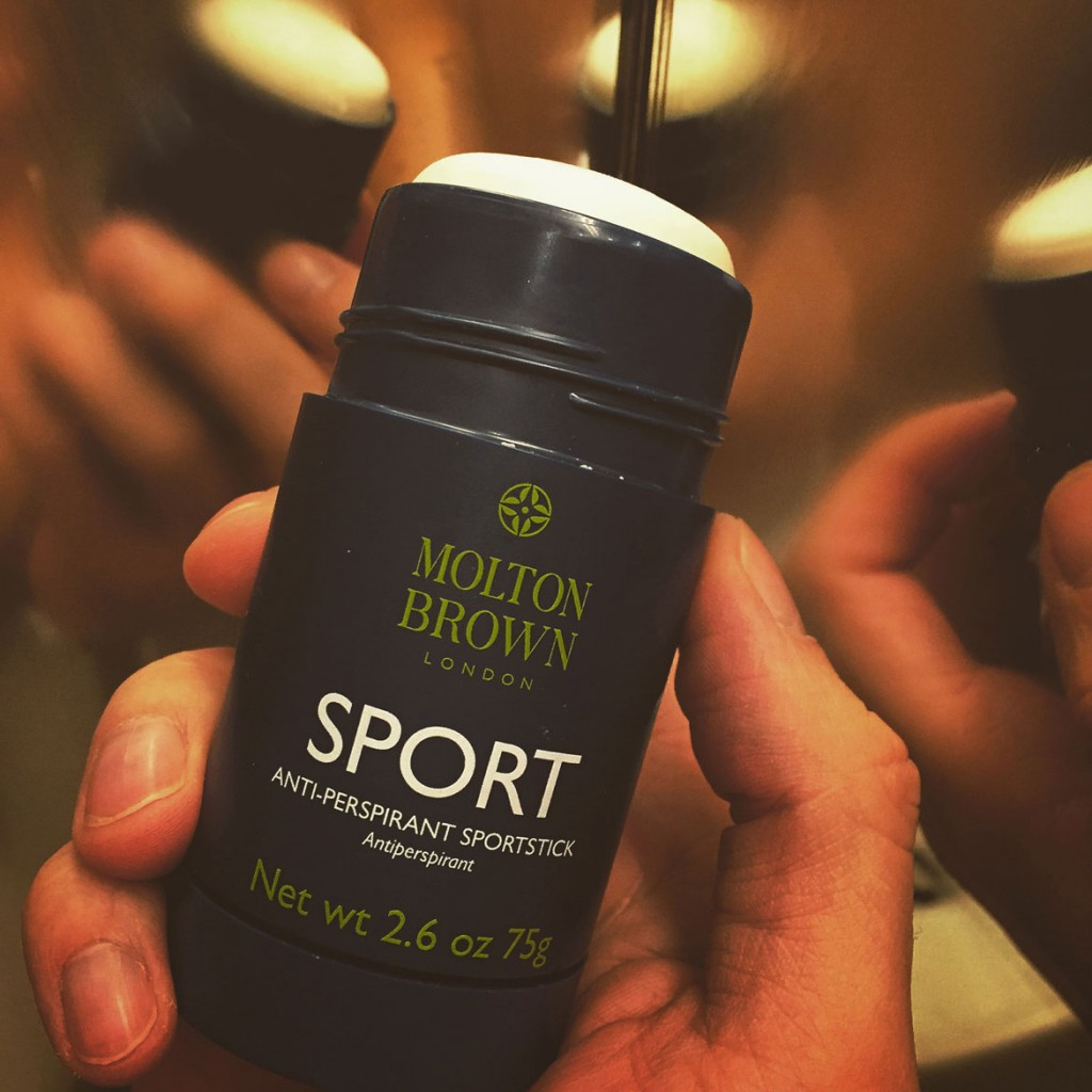 Molton Brown antiperspirant sportstick smelling like Cassia flowers