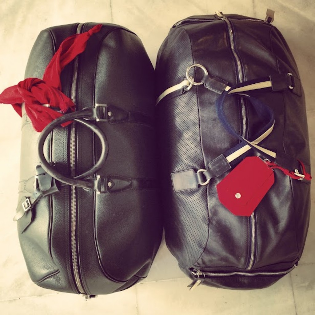 Left: Louis Vuitton weekend bag & Hermes cotton scarf - Right: Zanellato bag & Prada tag