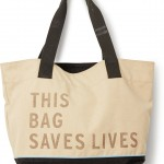 """This Bag Saves Lives"" logo tote by TOMS."