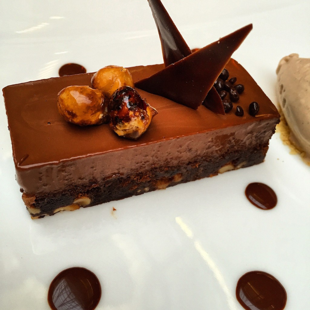City bistro Dessert time: Chocolate cake with brownies & whole caramelized hazelnuts!