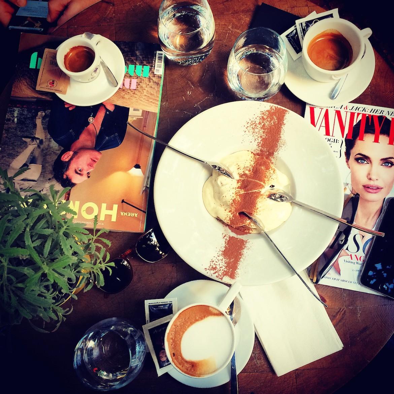 Cappucino, magazines & divine Tiramisu... I would love to spend all day everyday like this!