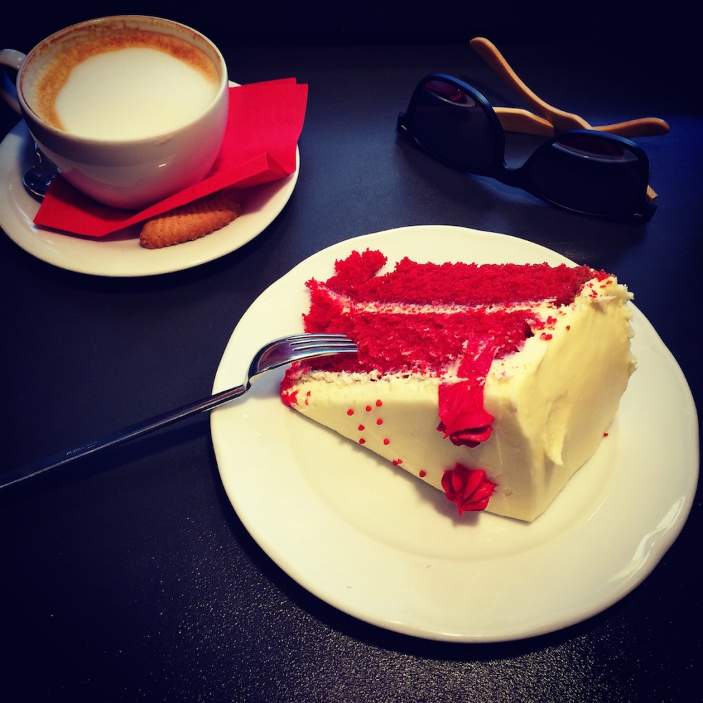 Red Velvet cake & cappucino at Cake pastry shop.