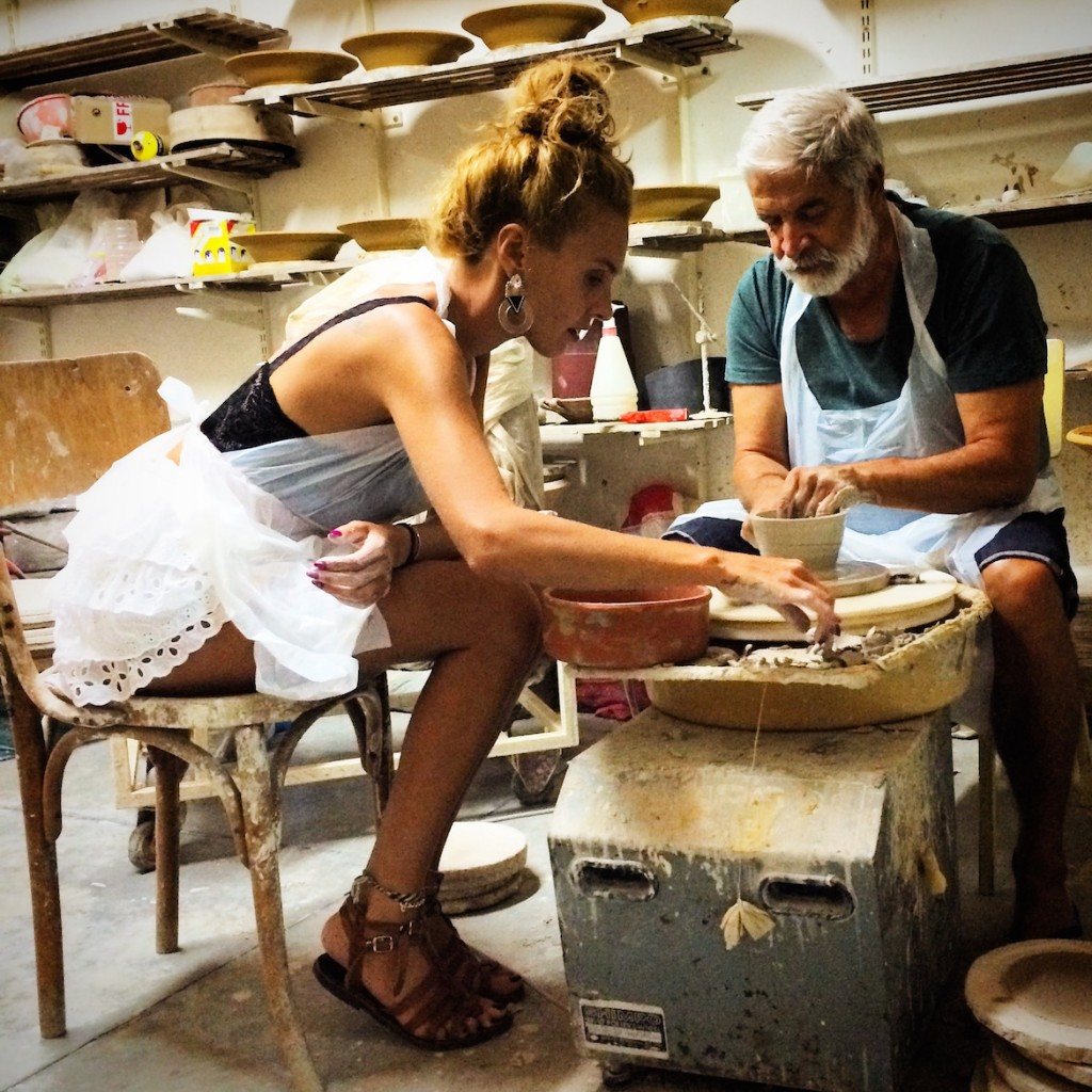 Popular singer Tamta introduced to the art of Ceramics by top artist Manousos Chalkiadakis (www.greekceramics.gr)