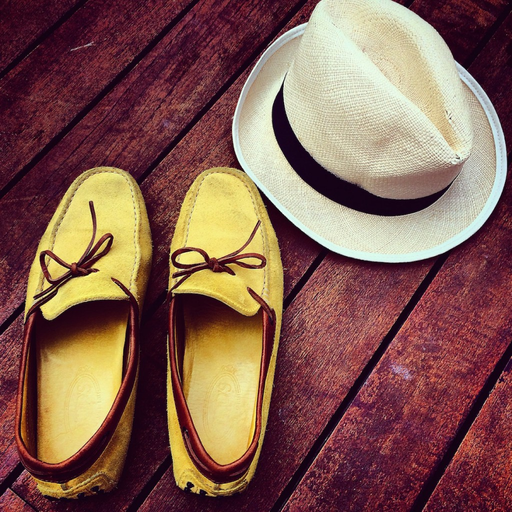 Preppy style wearing Tod's driving shoes & a genuine Panama hat