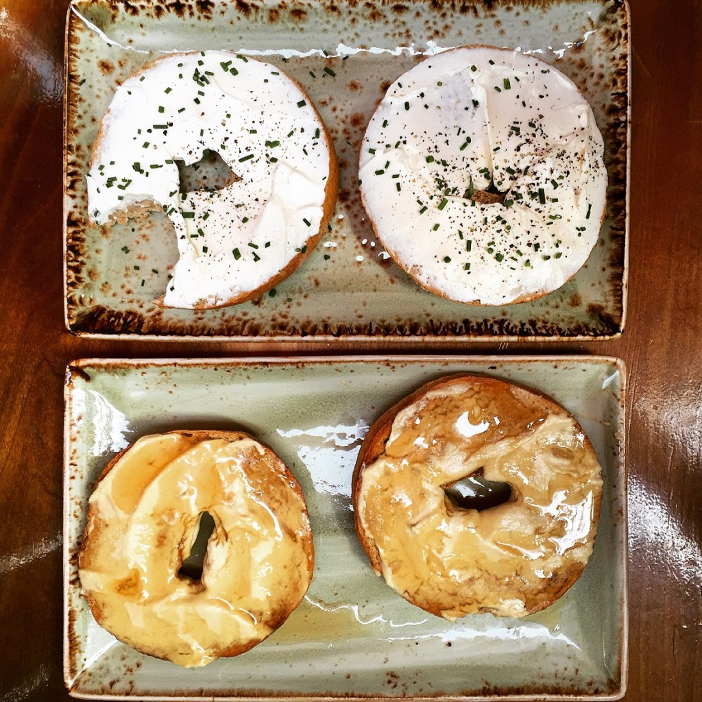 Tasty bagels with creamcheese (up) or tahini & honey (down).