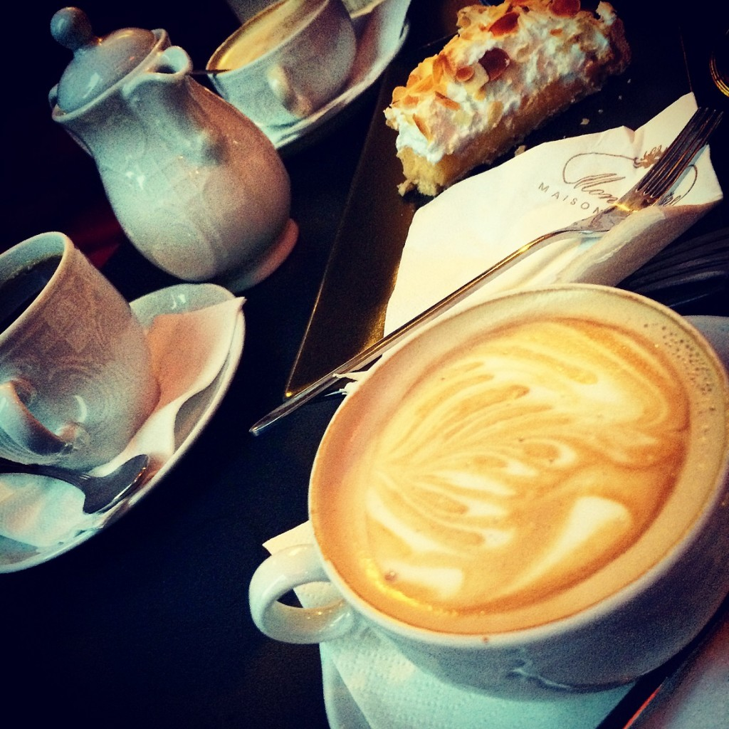 Hot cappuccino plus a delicious lemon pie at hipsters' fresnch-style meeting point Cafe Mon Frere.