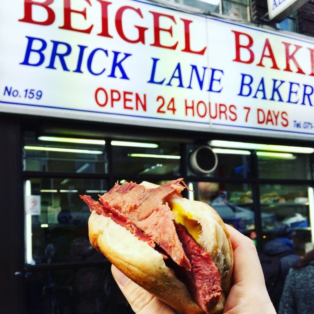 """I had to queue to get this """"salt beef & hot mustard"""" beigel at this famous jewish bakery"""