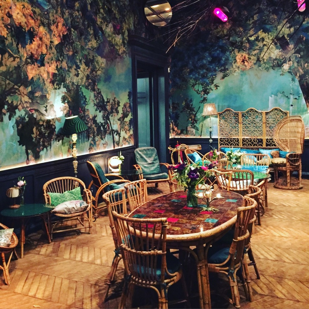 One of the beautifully decorated rooms at Sketch all-day cafe-bar-restaurant just off Regent str.