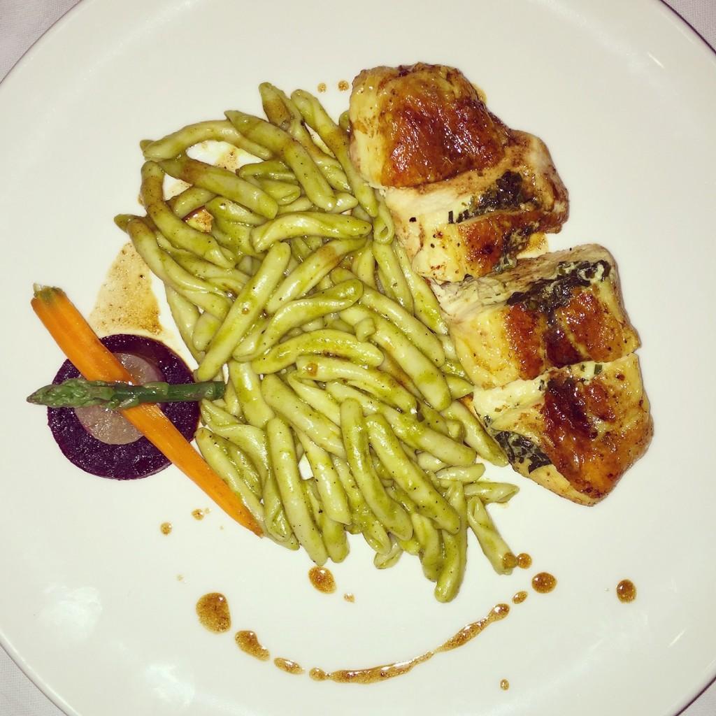 Dinner at Modern rooftop restaurant: Organic chicken fillet, herb crust & skioufihto pasta of Crete