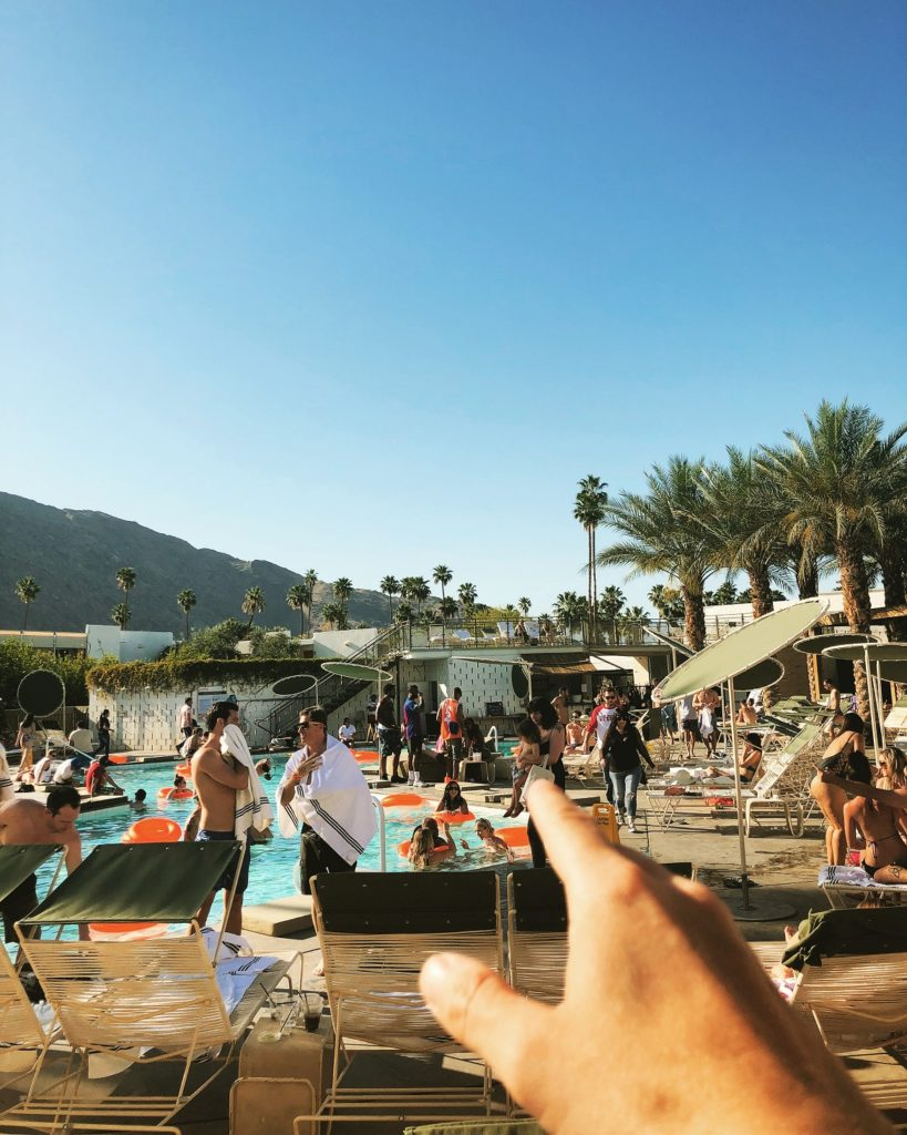 The happening pool of Ace Hotel Palm Springs where there is always a party going on...