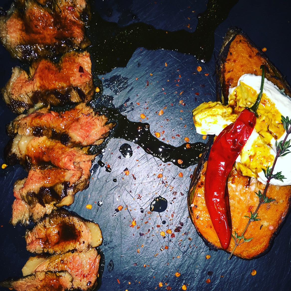 Ultra-tender picanha with sweet potato & cream cheese with truffle at 48 URBAN GARDEN